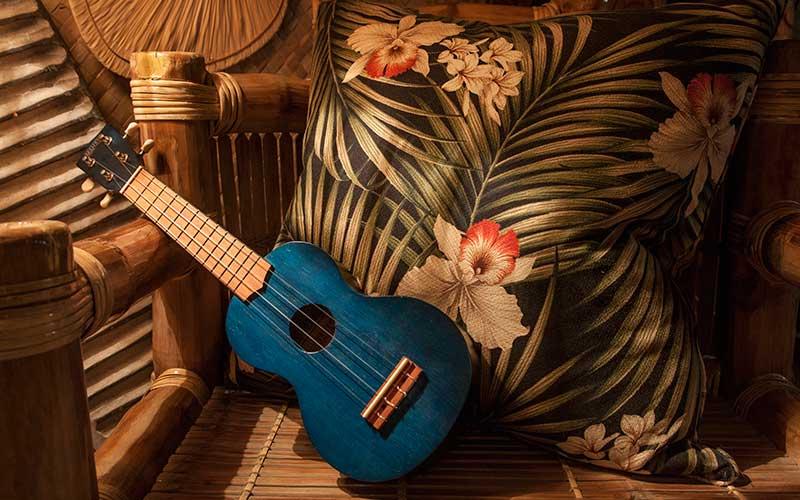 Ukulele and tropical print cushion