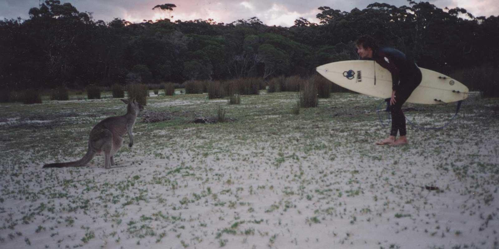 Jamie Wilson a surf board and a Kangaroo