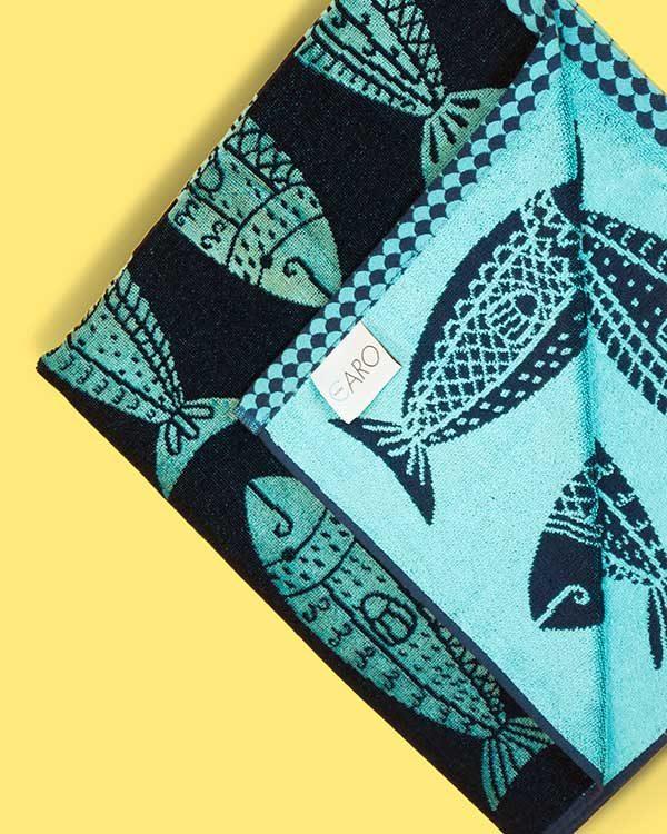 Fish printed beach towel