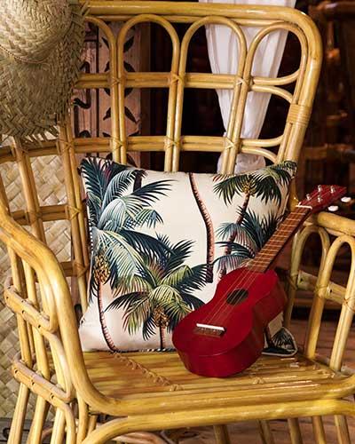 Tropical print cushion and Ukulele