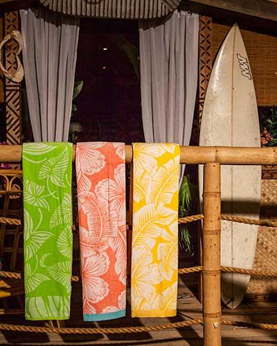 Tropical printed beach towels