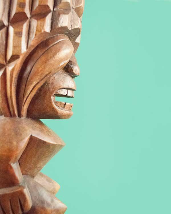 Hand carved wooden tiki - Kanaloa