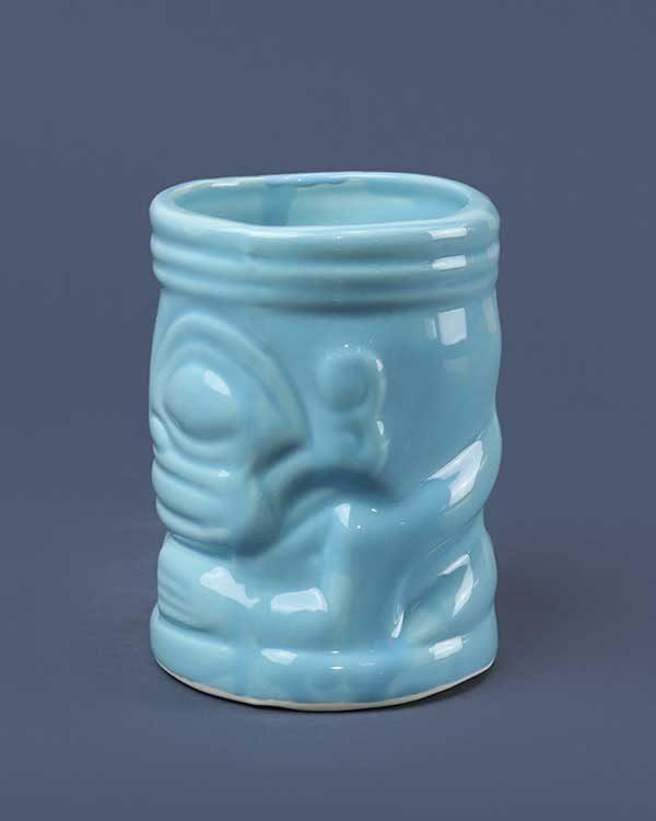 Ceramic marqui marq tiki mug blue