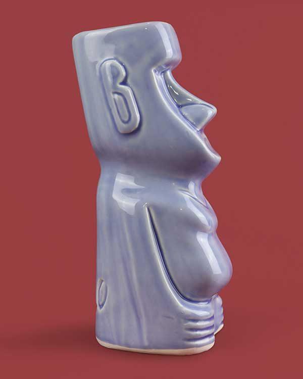 Ceramic moai Lola Lo tiki mug blue