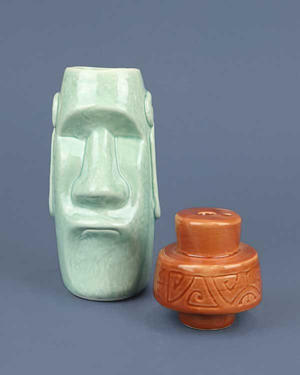 Moai Top Knot Ceramic Tiki Mug