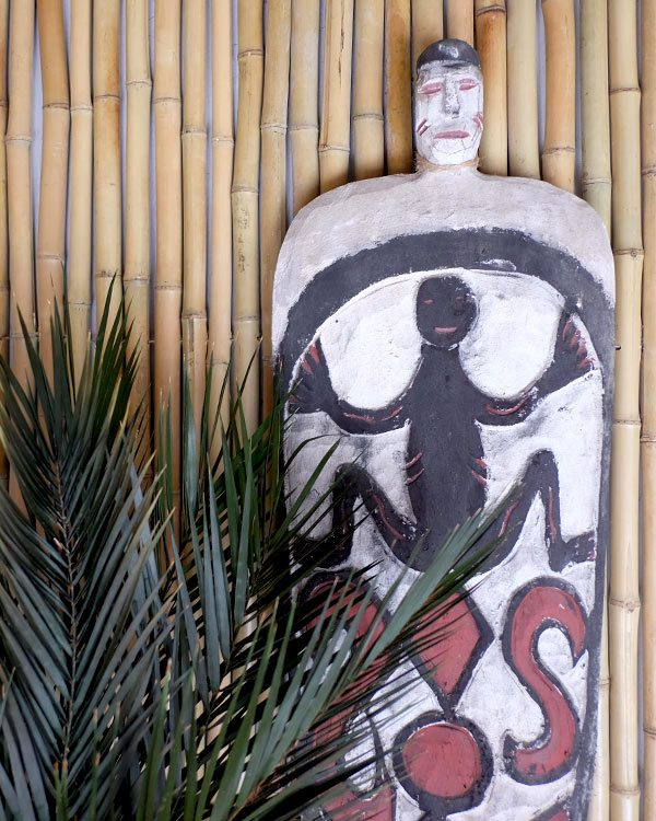 sTYLED SHOT OF A WOODEN CARVED WAR SHEILD AND PALM ON A BAMBOO WALL