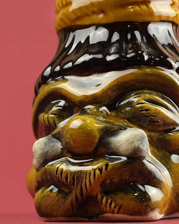 Shrunken Head Hand Painted Ceramic Tiki Mug