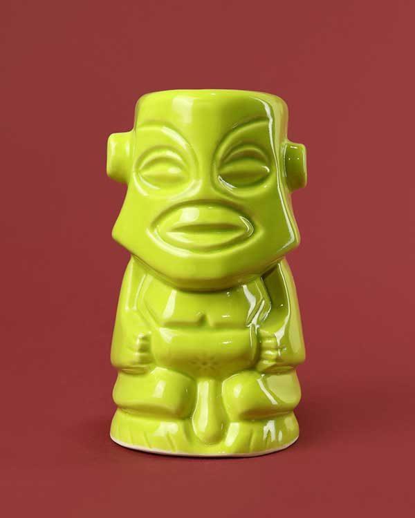 Ceramic Tangaroa tiki mug lime green