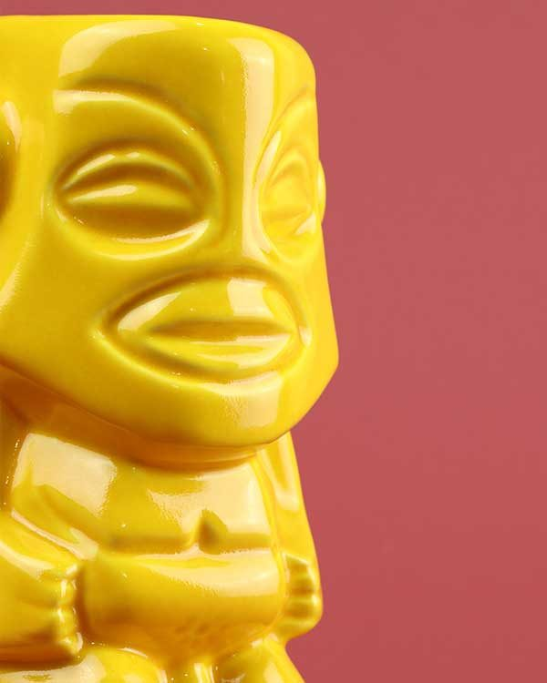 Ceramic Tangaroa tiki mug yellow