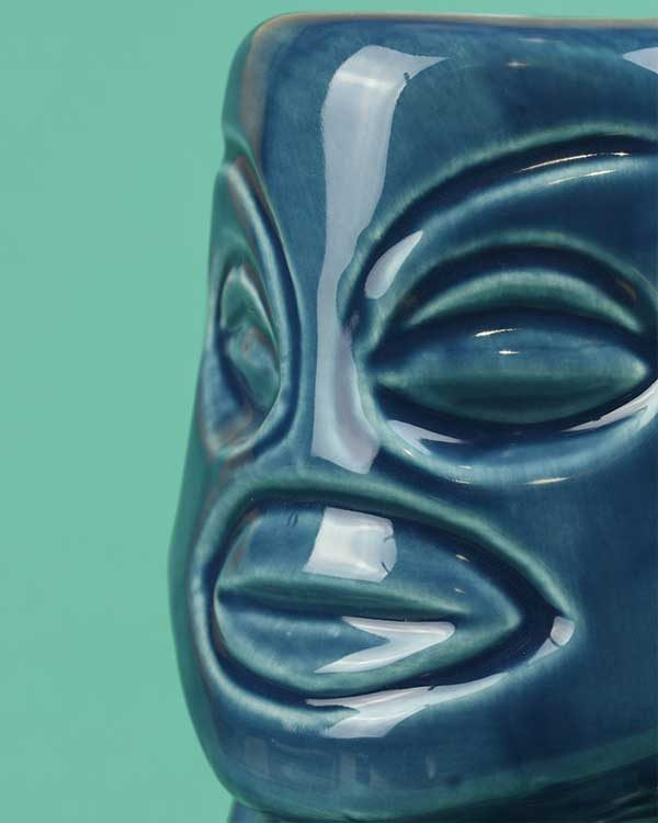 Ceramic Tangaroa tiki mug blue