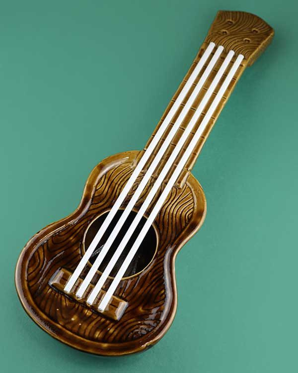Ceramic ukulele tiki cocktail sharer brown