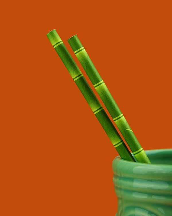 Bamboo Print Paper Straws