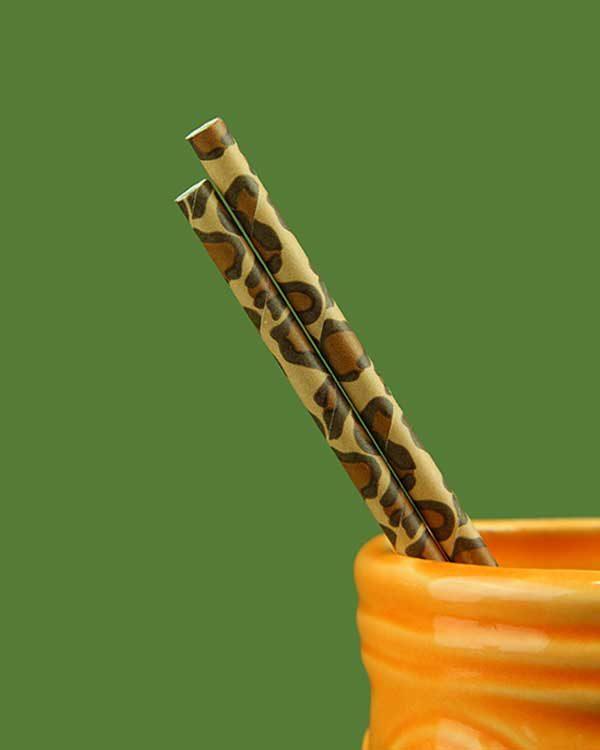 Jaguar Print Paper Straws