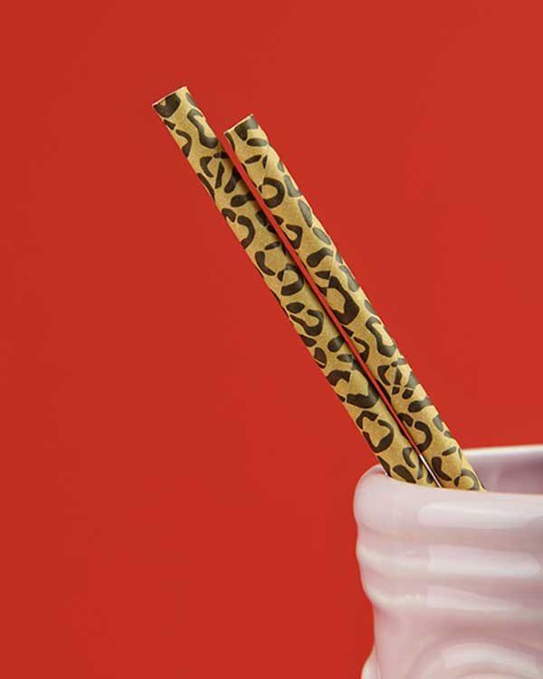 Leopard Print Paper Straws