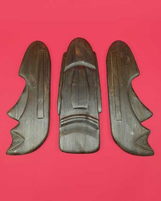 Carved Wooden Moai Set of 3 Masks