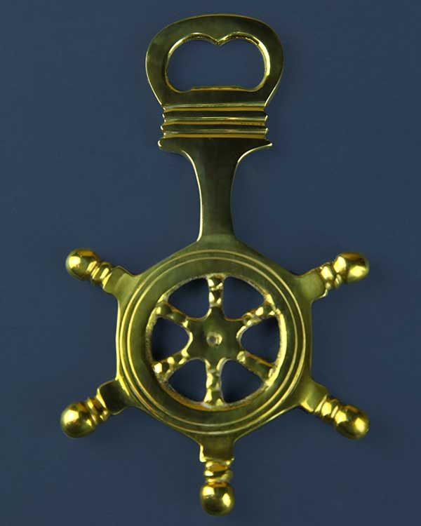 Nautical Brass Ships Wheel Bottle Opener
