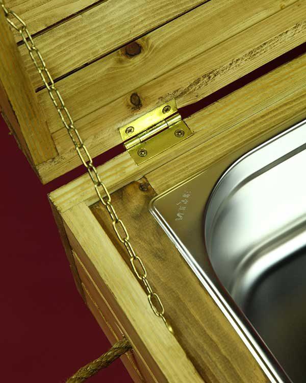 wooden treasure chest cocktail sharer