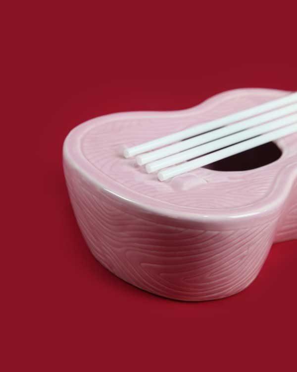 Ceramic ukulele tiki cocktail sharer pink