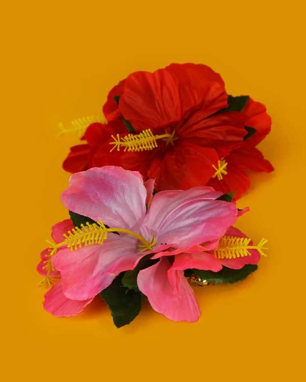 Hibiscus flower hair clip x 2 red and pink