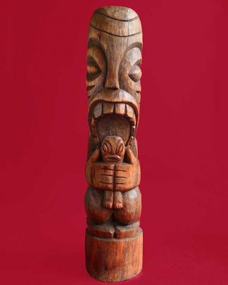 Hand Carved Wooden Head Hunter Tiki Front