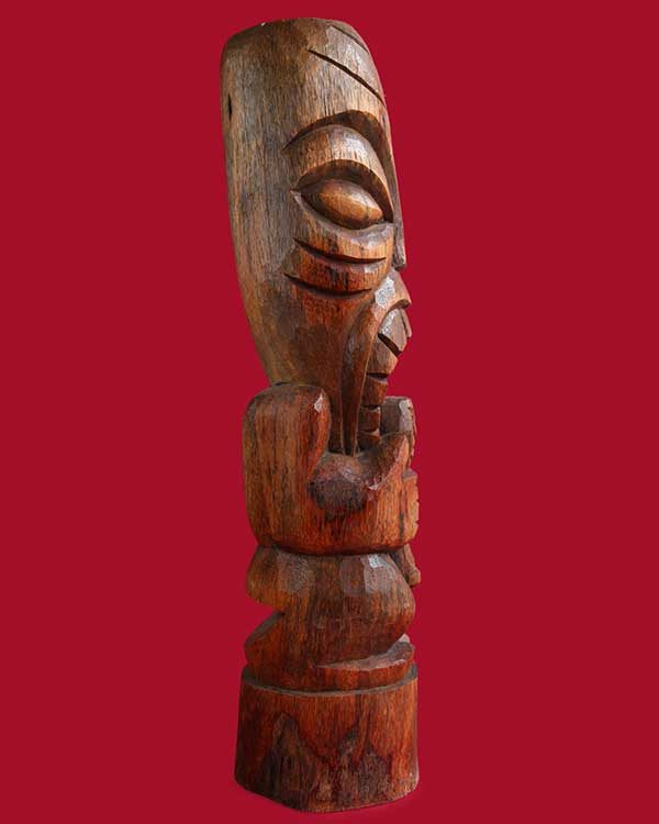 Hand Carved Wooden Head Hunter Tiki Side