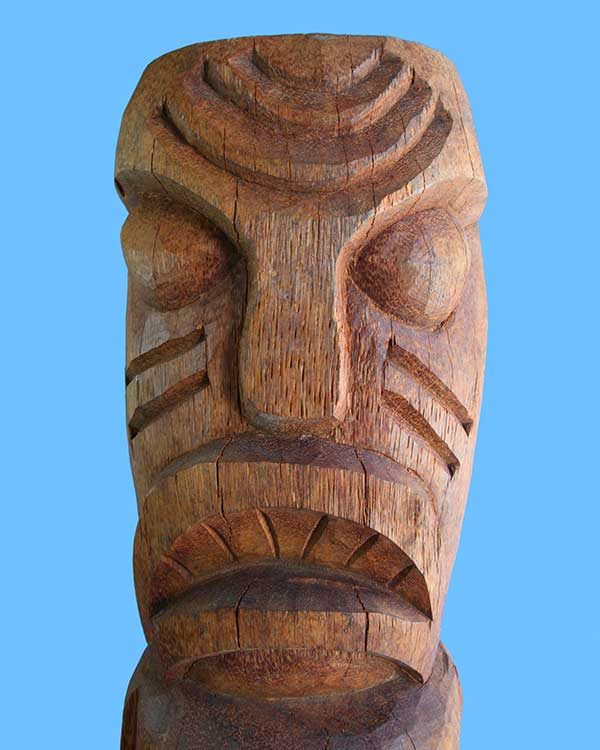 Hand Carved Wooden Head Hunter Tiki Detail