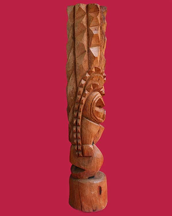 Hand Carved Wooden Kanaloa Tiki Side
