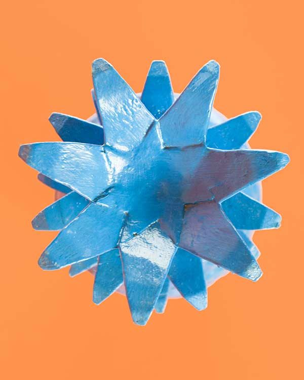 Blue Carved Wooden Pineapple