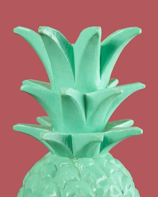 Light Green Carved Wooden Pineapple
