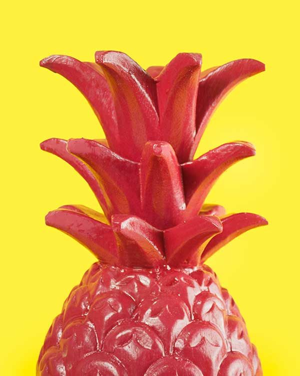 Dark Pink Carved Wooden Pineapple