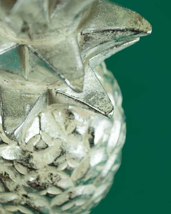 Silver Wooden Carved Pineapple