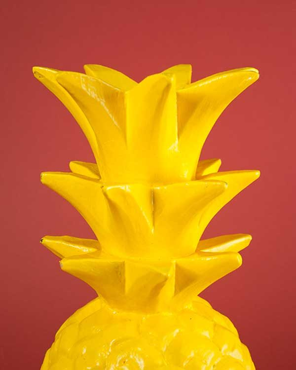 Yellow Carved Wooden Pineapple