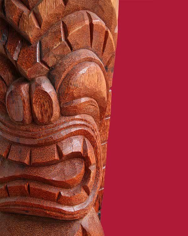 Hand Carved Wooden Ku Tiki Detail