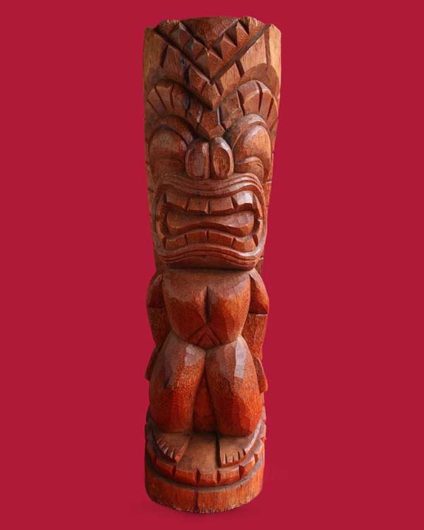 Hand Carved Wooden Ku Tiki Front