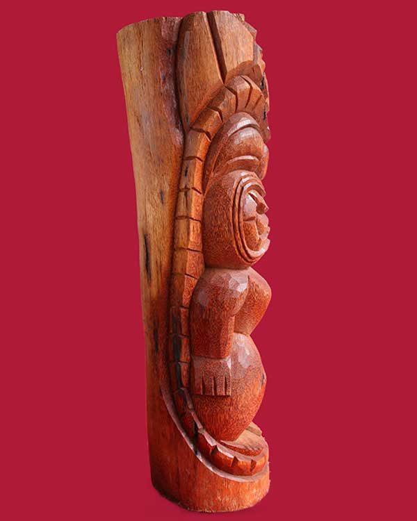 Hand Carved Wooden Ku Tiki Side