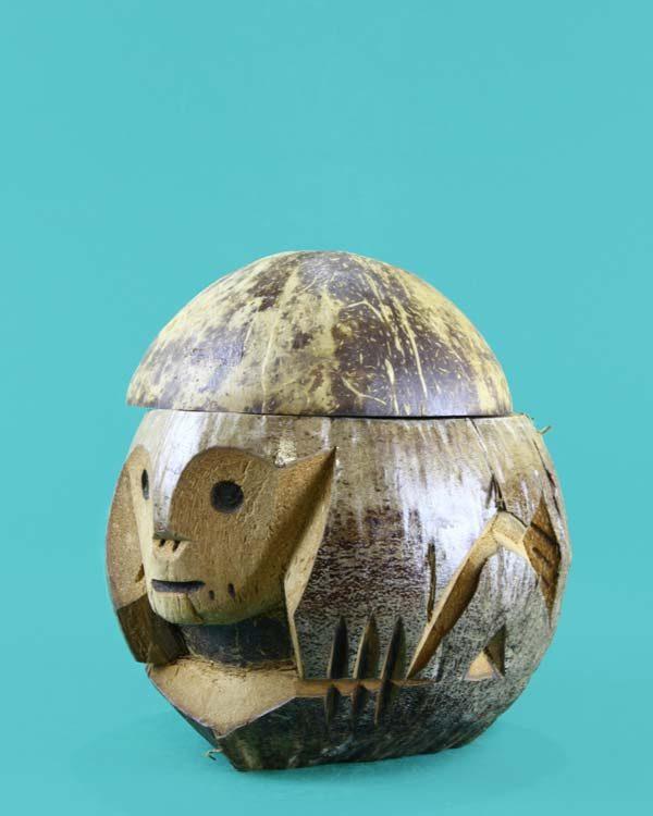 Carved Coconut Husk Monkey Drinking Vessel