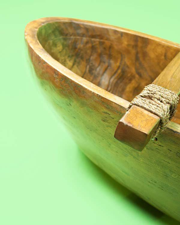Decorative Carved Wooden Canoe Cocktail Vessel