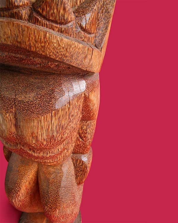 Hand Carved Wooden Tiki Detail