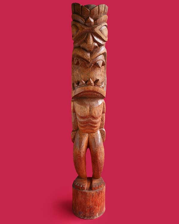 Hand Carved Wooden Tiki Front