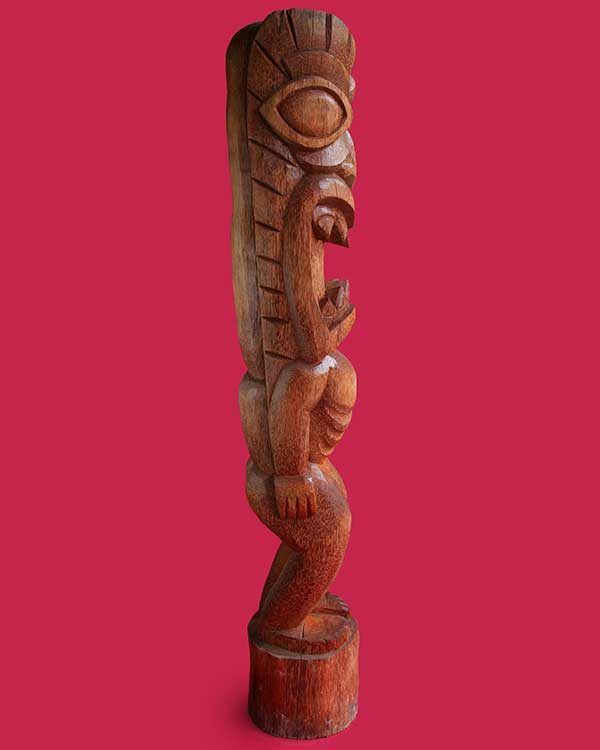 Hand Carved Wooden Tiki Side