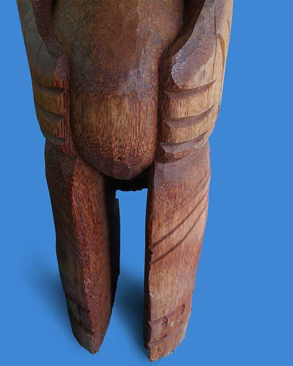 Hand Carved Wooden Marquesian Tiki Detail