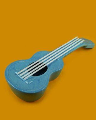 Ceramic ukulele tiki cocktail sharer blue