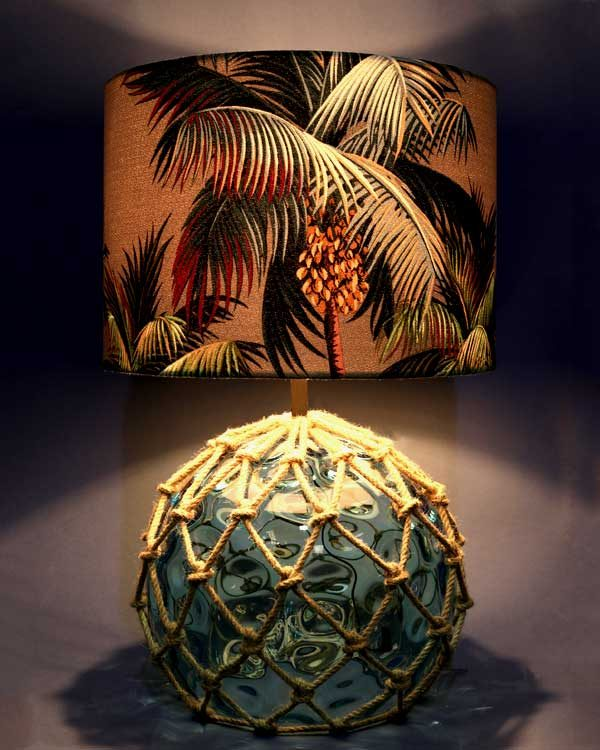 Glass Fish Float Table lamp with tropical palm tree lampshade blue