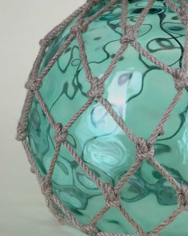 Glass Fish Float Table lamp with tropical lampshade green