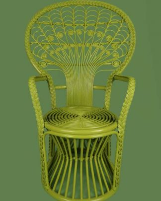 Rattan peacock chair in lime green