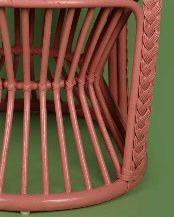 Rattan peacock chair in pink detail shot