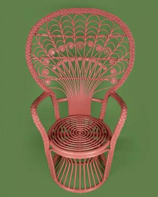 Rattan peacock chair in pink