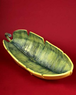 Tropical Leaf Shaped Ceramic Serving Dish Green