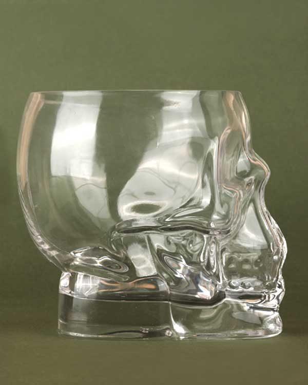 Glass tiki skull drinking cup