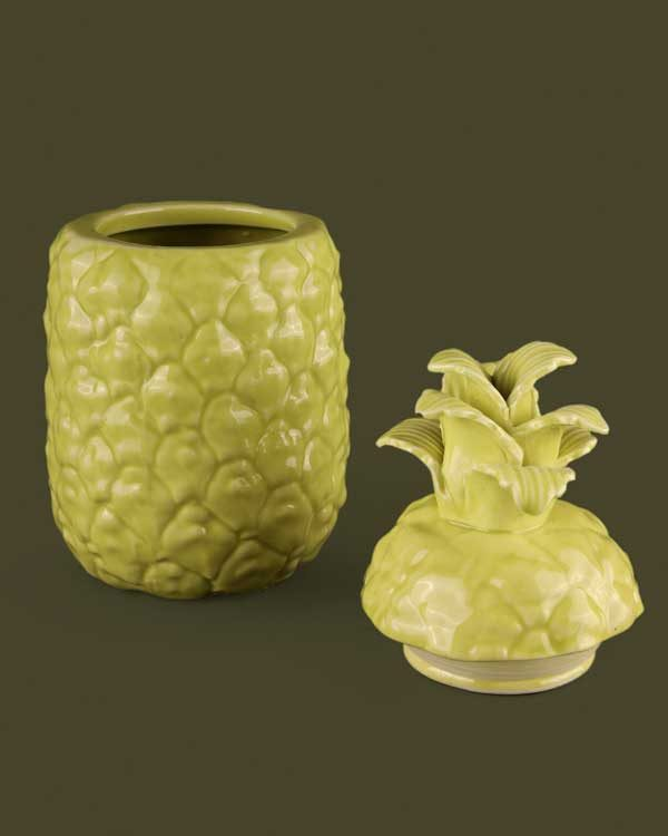 Pineapple ceramic drinking cup with straw holder in lime green